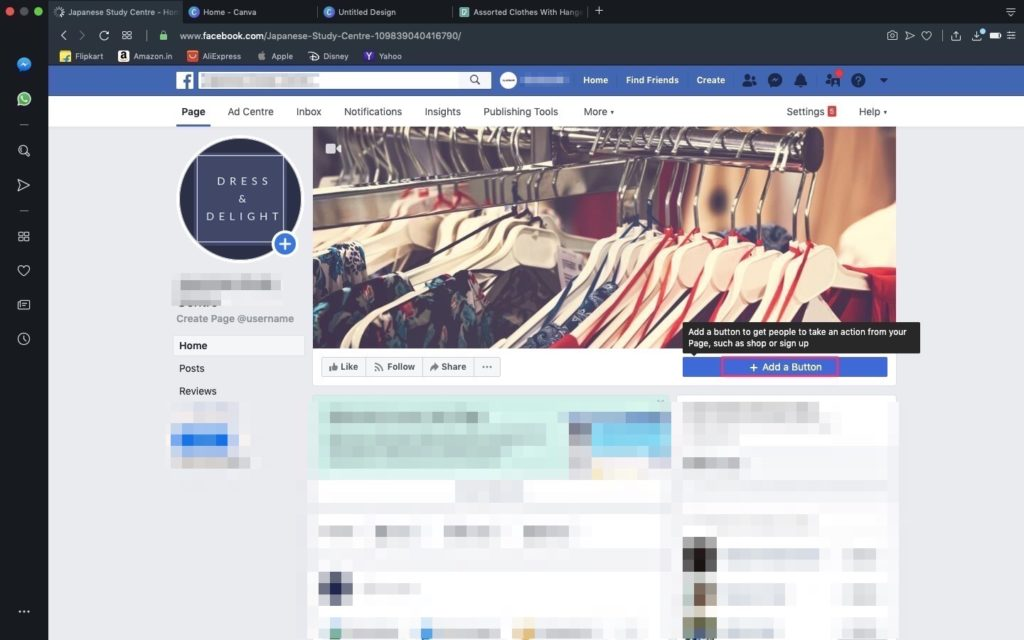 Click Add Button on Facebook page