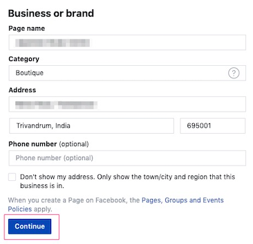 Click Continue button to create your Facebook page
