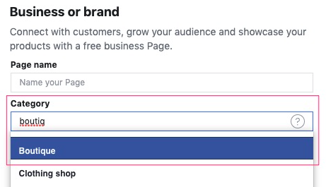 Select the Category of your business for which the Facebook page is created