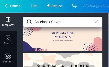 Search Facebook Cover template in Canva
