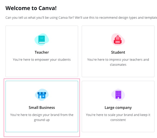 Select small business option in Canva