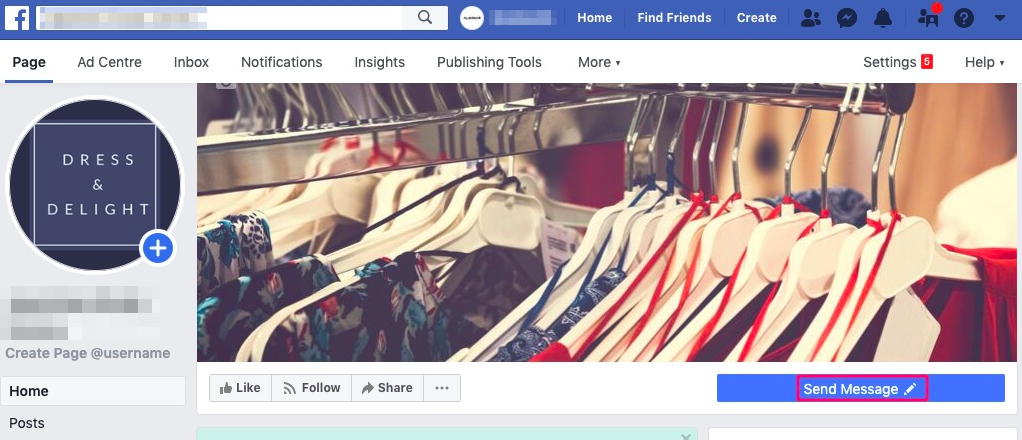 Send Message button appears on Facebook page
